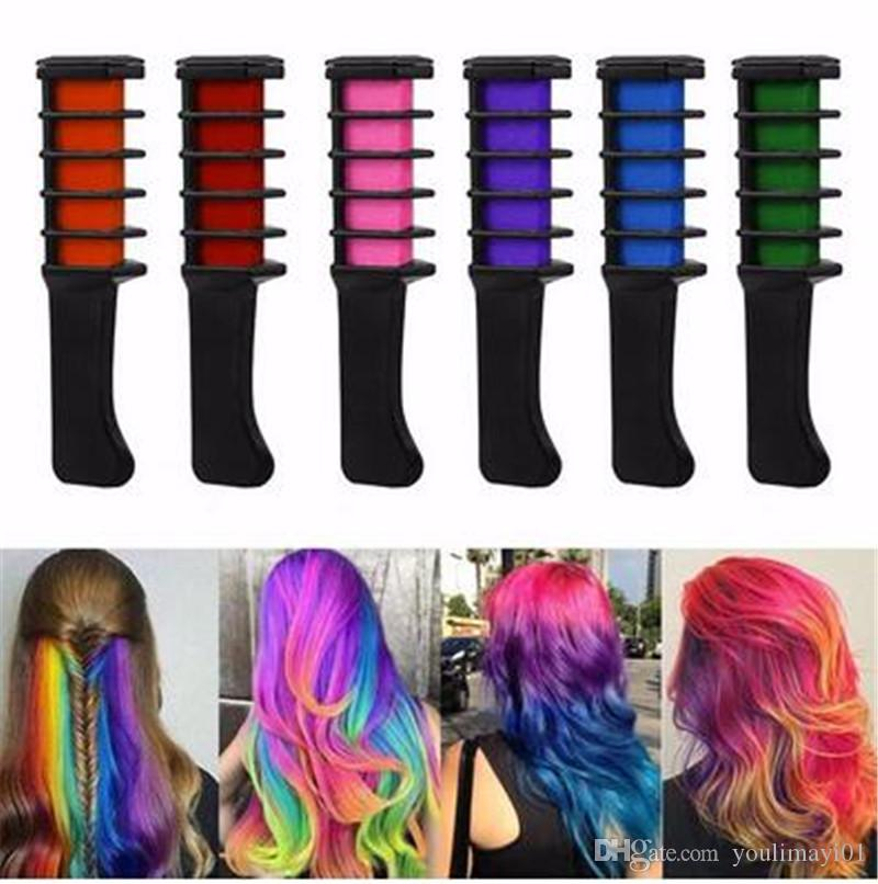 Fashion Mini Disposable Personal Use Hair Chalk Color Comb Dye Kits ...