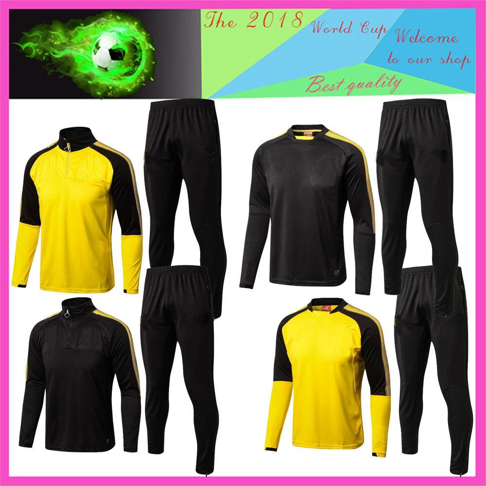 Compre Melhor 18 19 Borussia Dortmund Treino Jacket Men Kit Manga Longa  Calças De Treino Terno De Futebol Borussia Aubameyang Reus Roupas Sports  Wear De ... 31cbc8c95d541