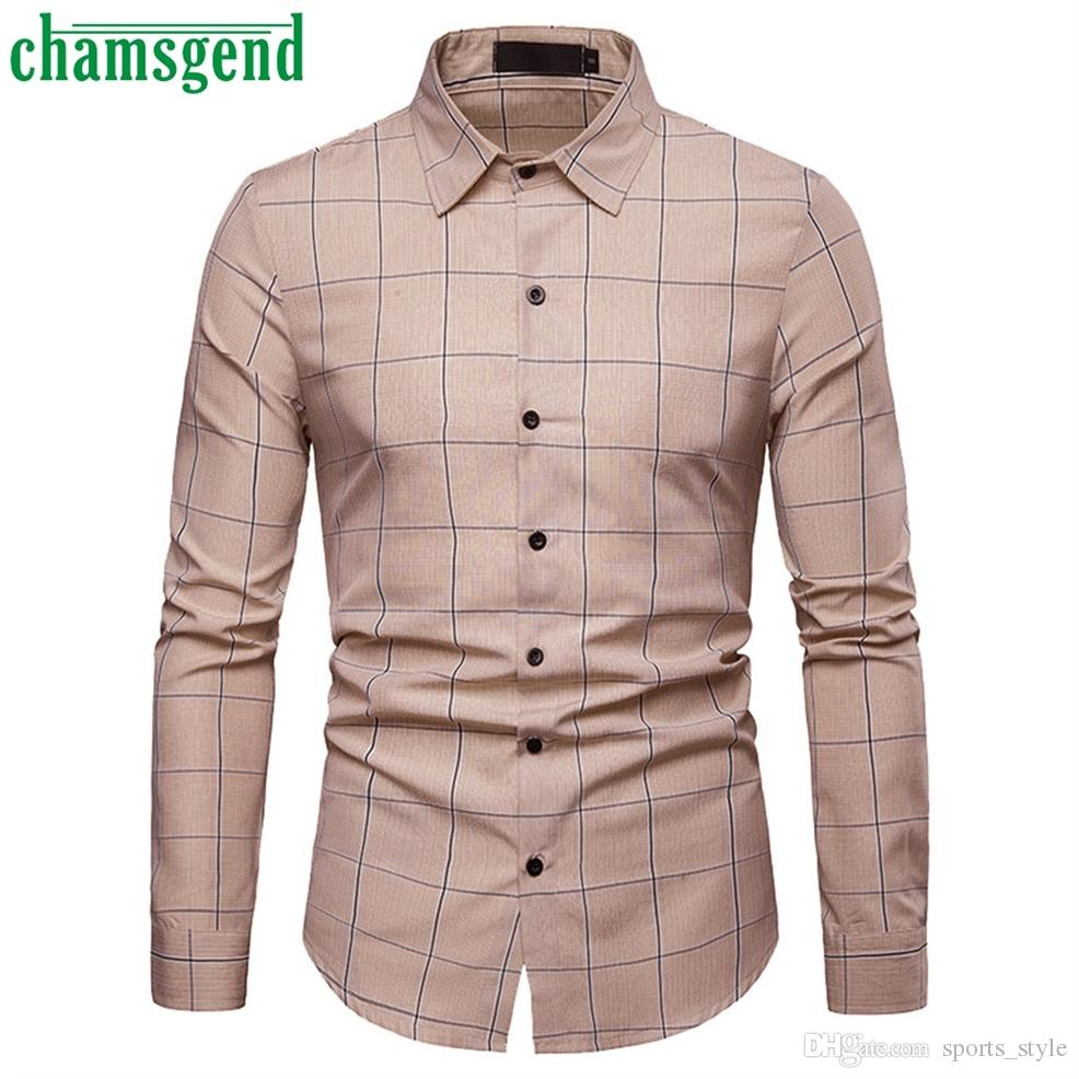 1d3c834d Chamsgend Mens Blouse 2019 hot New Men's Business Casual Long Sleeved Shirt  Classic plaid male Large Size Social Dress Shirts#30 #435277