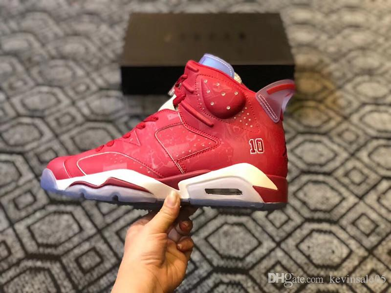 competitive price 373b3 9663e Classical Slam Dunk 6 6s Mens Basketball Shoes Top Quality VI Red White  Sports Outdoor Sneakers With Original Box Size EU40--47