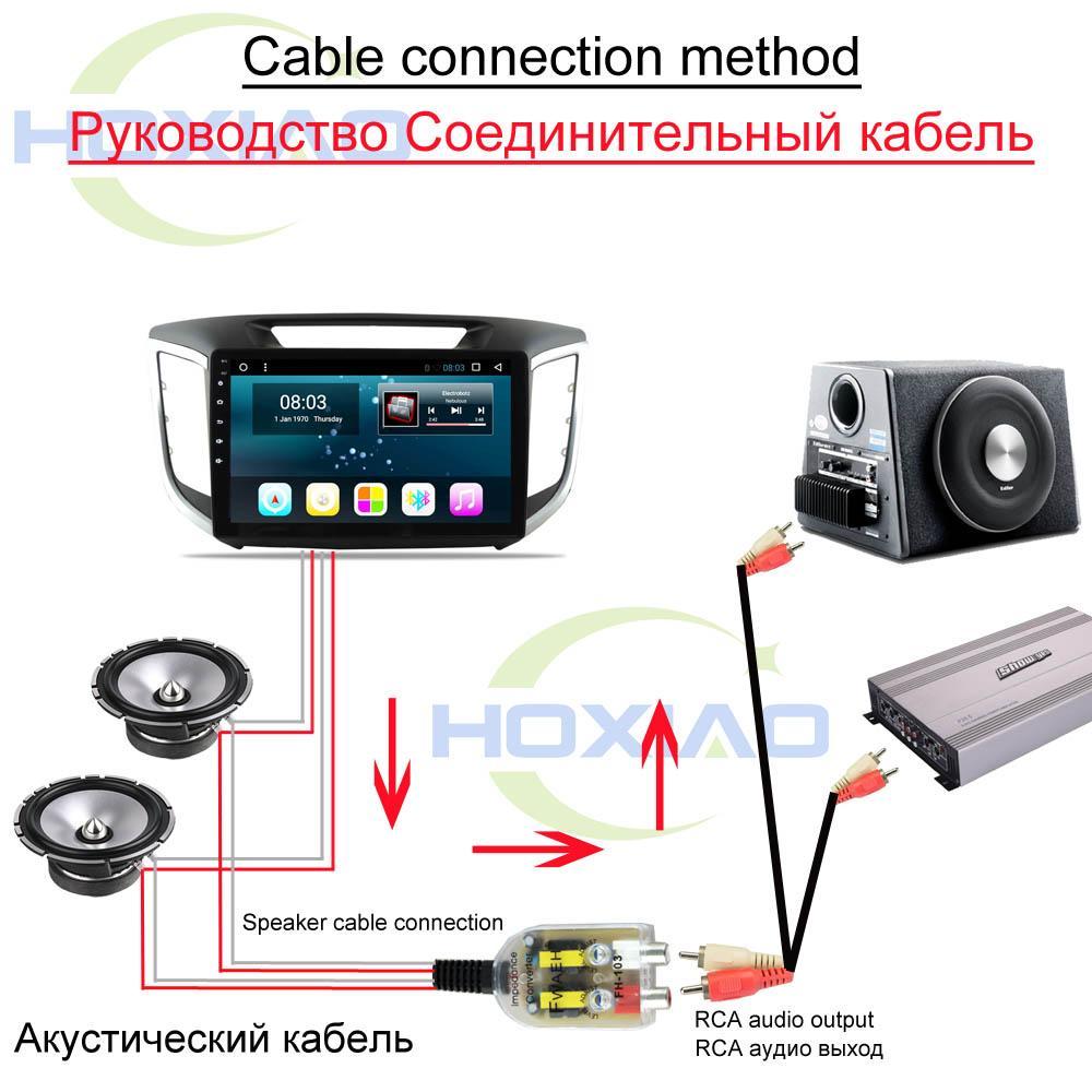 Convertidores de radio para automóvil Altavoz Amplificador de automóvil de alto a bajo Uso de línea de 12V RCA para Android DVD Convertidor de impedancia de audio para automóvil