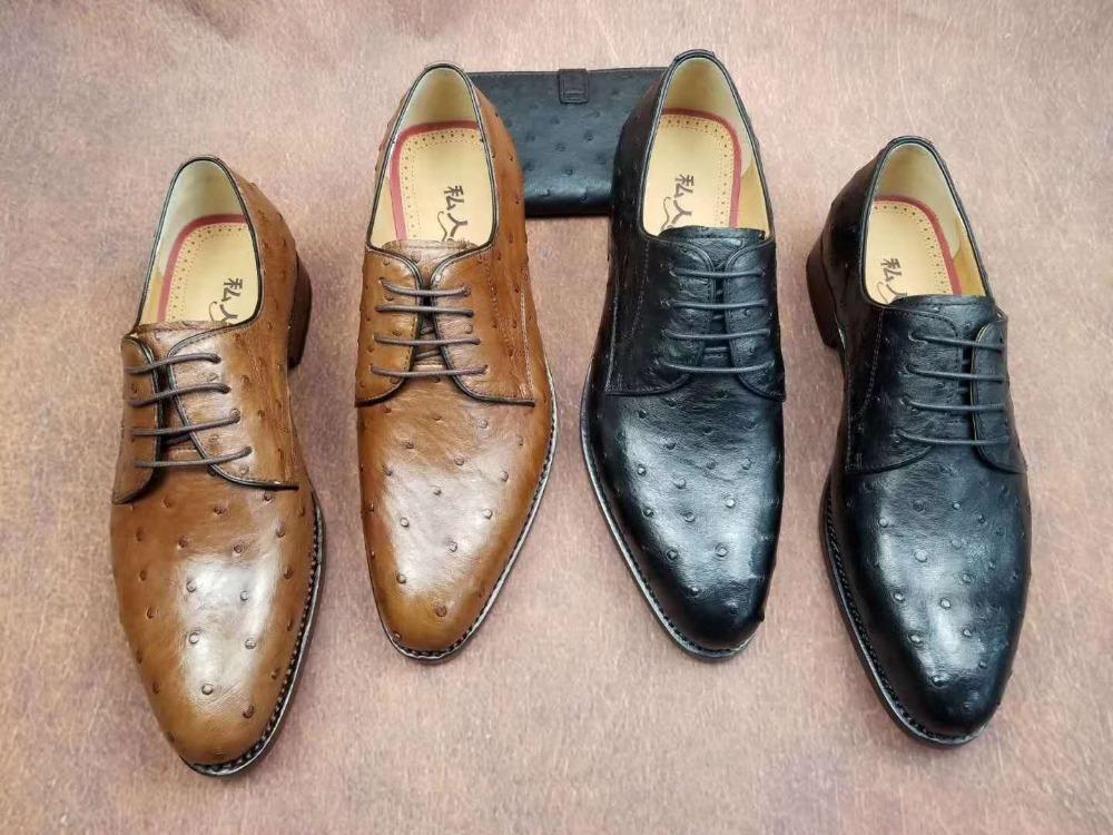 29194936 Compre Nueva Producción Genuina Piel De Avestruz Hombres De Negocios Zapatos  De Vestir De Color Marrón Claro De Color Marrón Piel De Avestruz Hombres ...