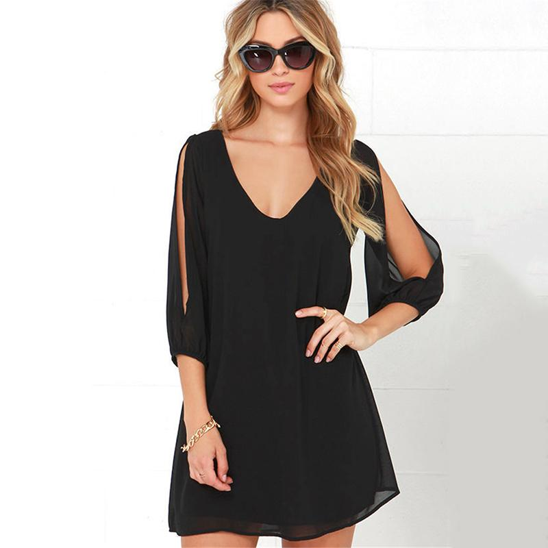 2019 Spring New Fashion Solid Color Dress Casual V-Neck Loose Dresses 3/4 Sleeve women Elegant Beach Female Vestidos