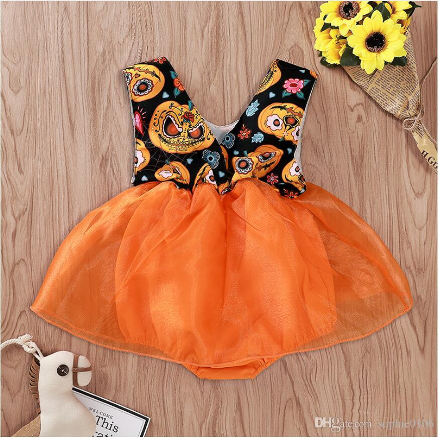 Girl Halloween Sleeveless Pumpkin Print Romper Baby Halloween Gauze Jumpsuit Kids Cartoon Clothes One Piece ZHT 287