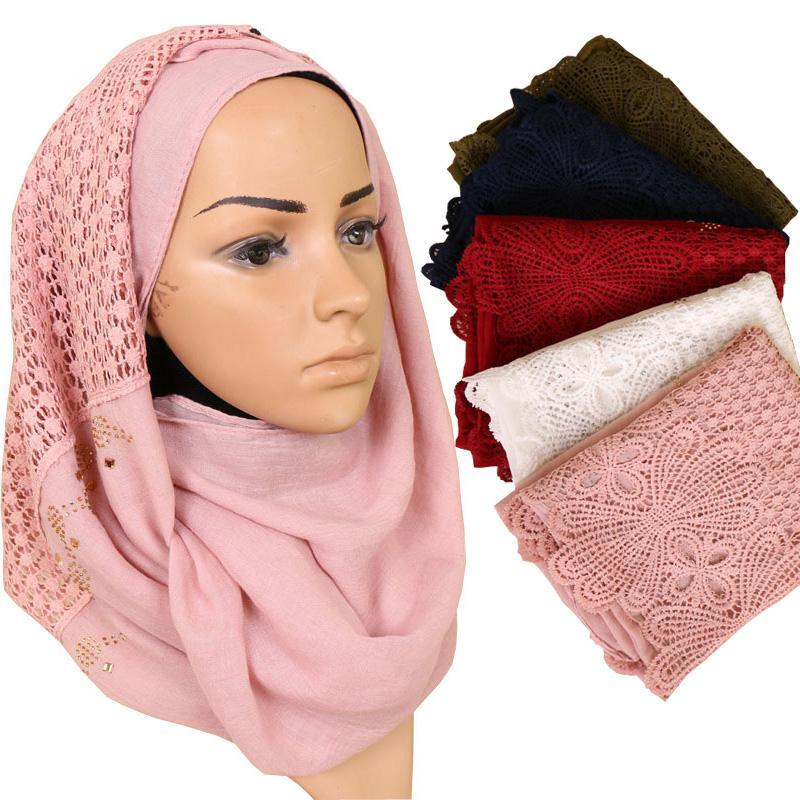 5df90a2a6fe Acheter Femmes Coton Hijab Écharpe Fleur Creuse Design De Mode Automne  Hiver Musulman Dames Tête Foulards Châle Wrap Arabe Turc Hijabs De  35.79  Du ...