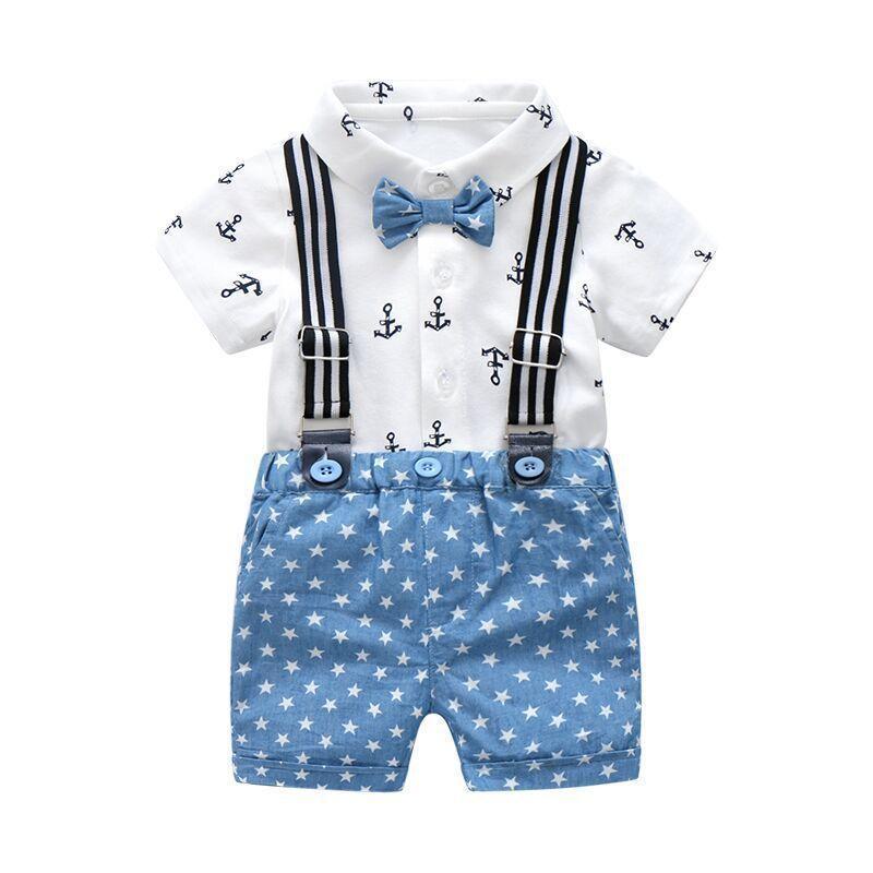 e741cb4b1 Compre Summer Baby Boys Ropa Para Caballero Conjuntos De Algodón Para Bebés  Camisa Con Arco Trajes Para Niños Trajes Camisa Con Estampado Blanco + ...