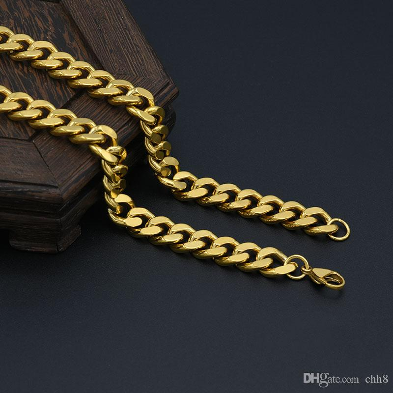 f03af1d99e5ca 11mm high quality stainless steel gold cuba chain necklace for men miami  18k gold plated jewelry hip hop accessiors