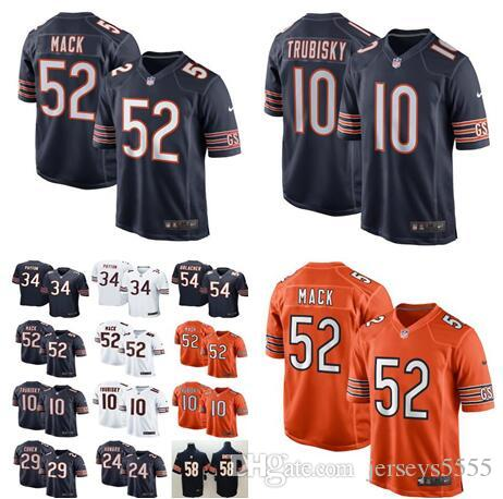 0e65a8b77b429 2019 Men'S Womens Kids Chicago Jerseys Bears #52 Khalil Mack 10 Mitchell  Trubisky 54 Urlacher 34 Walter Payton 24 Howard 29 Tarik Cohen Jers From ...