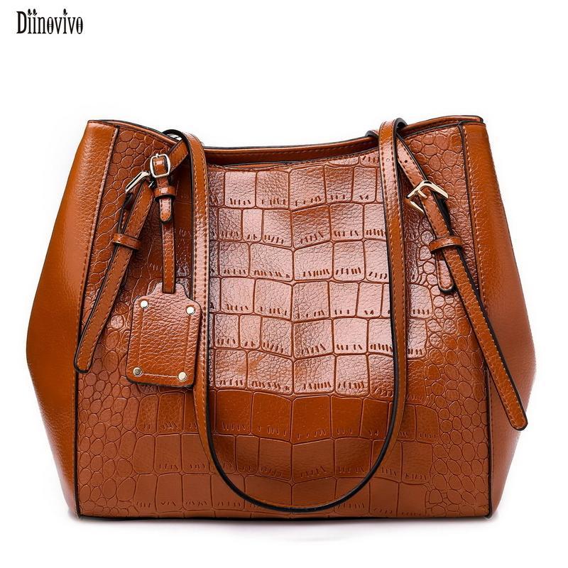 2019 Fashion Diinovivo Oil Wax Leather Ladies Shoulder Bag Crocodile Women  Crossbody Bag New Solid Color Handbag Large Capacity Totes Handbag  Wholesale Hobo ... b1b6e5de0f42f