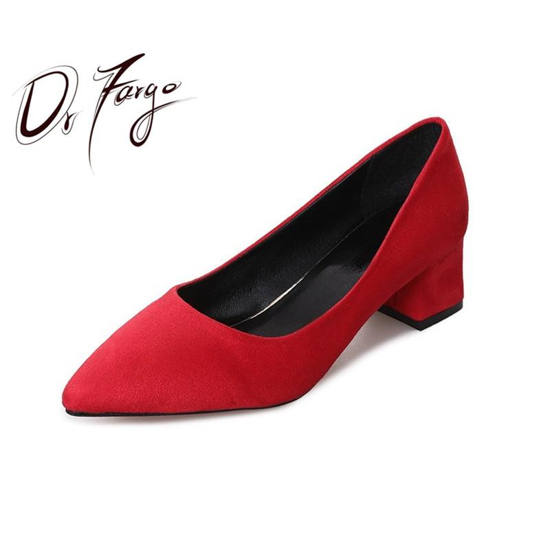 Designer Dress Shoes DRFARGO Women Worker 5cm Block Mid High Heels Classic Sexy Pointed Toe Flock Shallow Slip on Pink Red Black Grey