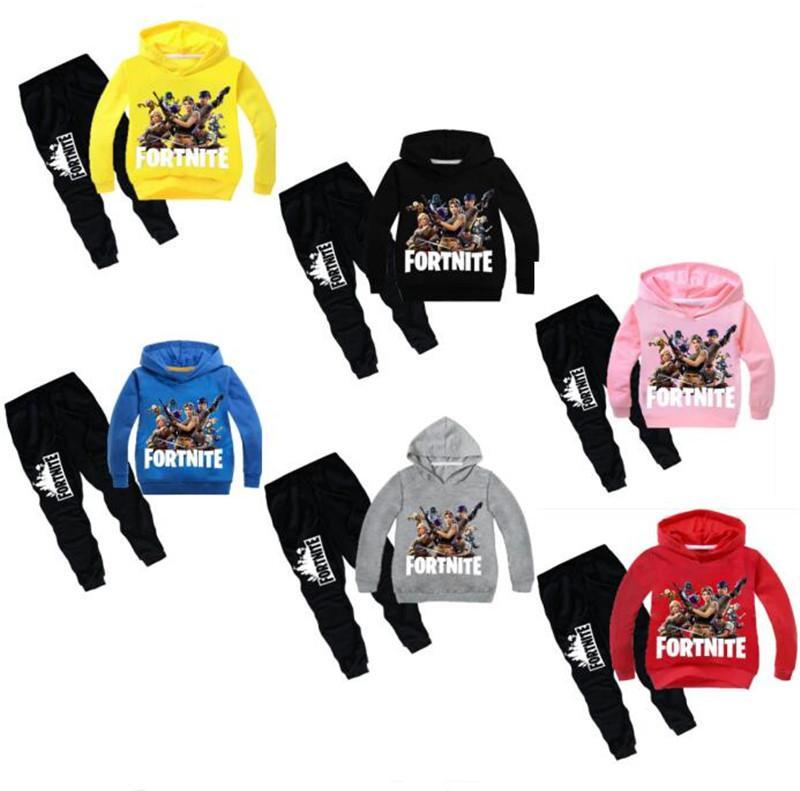 Girls Boys University Tracksuit Hooded Top Jogging Bottoms Kids 2 Piece Set