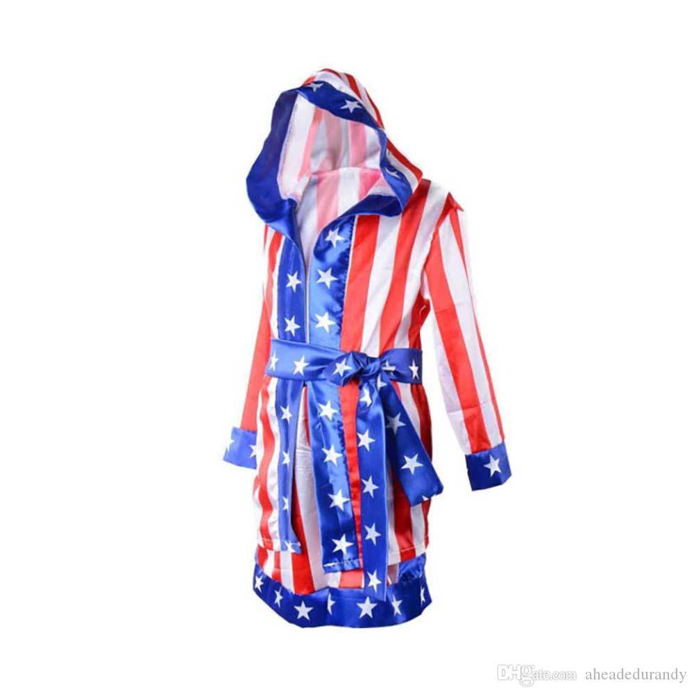 Boy Boxing Costume Kids Rocky Balboa Robe Movie Apollo Cospla American Flag Pattern/Italian stallion Halloween mascot Costume For Kids