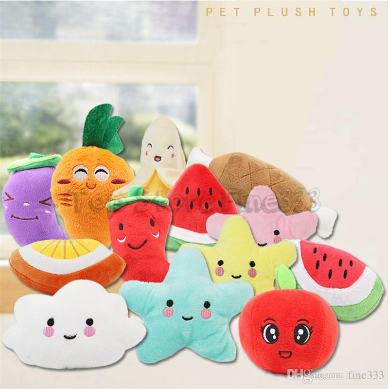 Moon Star Banana Watermelon Carrot Plush Toys Vegetable and fruit Stuffed Classical Interactive Gift Soft Pet Teething Molar kids toys