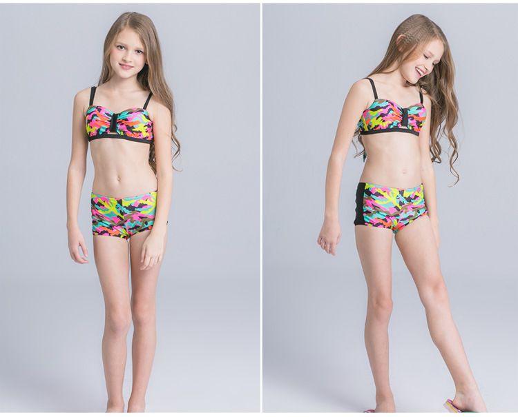 2018 New Girl Camuflaje Bikini Traje de baño Chica de niño Ropa de playa para adolescentes Chicas Bikinis Set Niños Traje de baño Chica Trajes de baño
