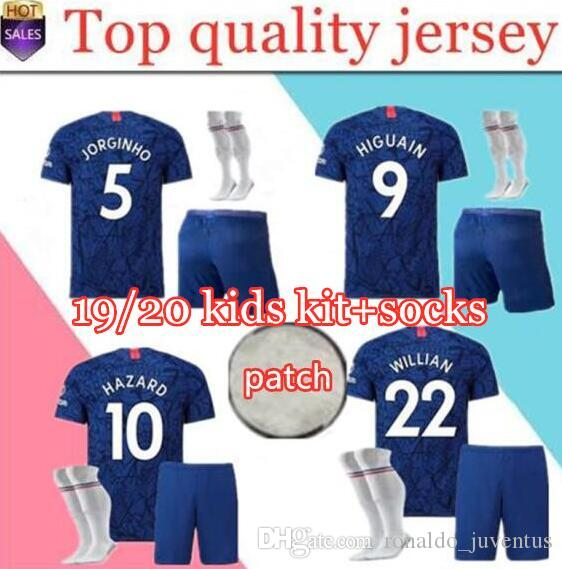 newest b9729 344b5 kids jersey kit 19/20 HAZARD HIGUAIN soccer jersey football shirts 2018  2019 home blue KANTE WILLIAN GIROUD FABREGAS boy child shirts