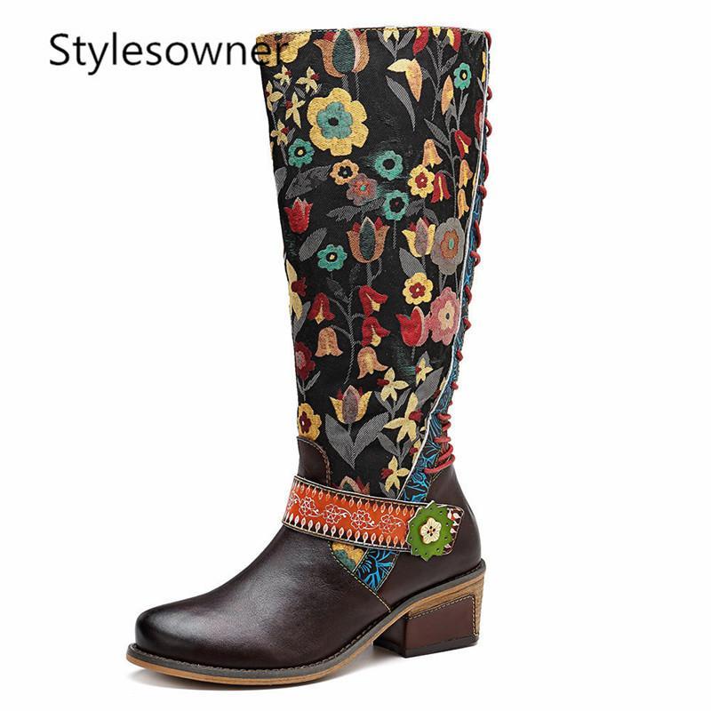 7258c367 Estilos de estilo étnico Moda Mujeres Botas hasta la rodilla Moda Suave de  cuero Casual Bordado Retro Botas largas Flor clásica