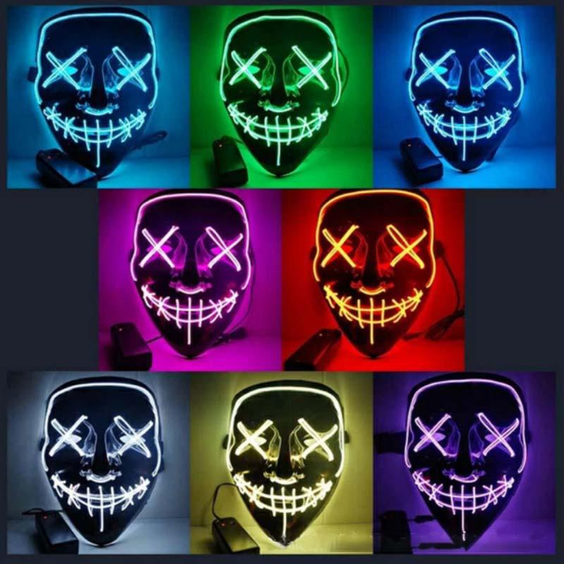 Halloween Glowing Mask Costume LED Party Mask Horror Cosplay DJ Party Light Up Masque Wire Halloween Masks Festival Cosplay Decoration