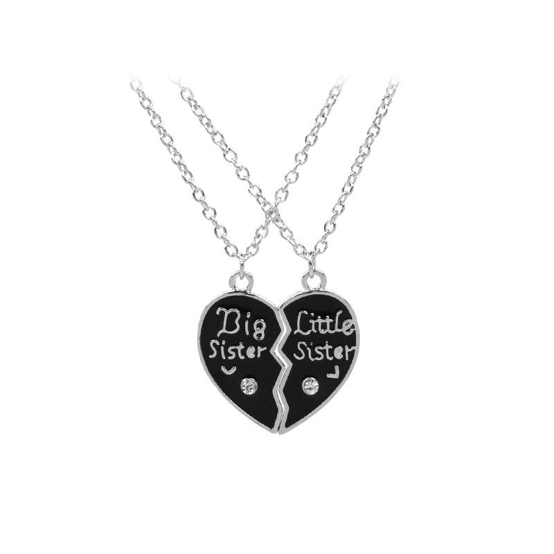494adf915d4c3 Heart Halves Matching Big Sis Little Lil Sis Sisters Necklace Jewelry Gift  Set Best Friends Sister Necklaces for 2