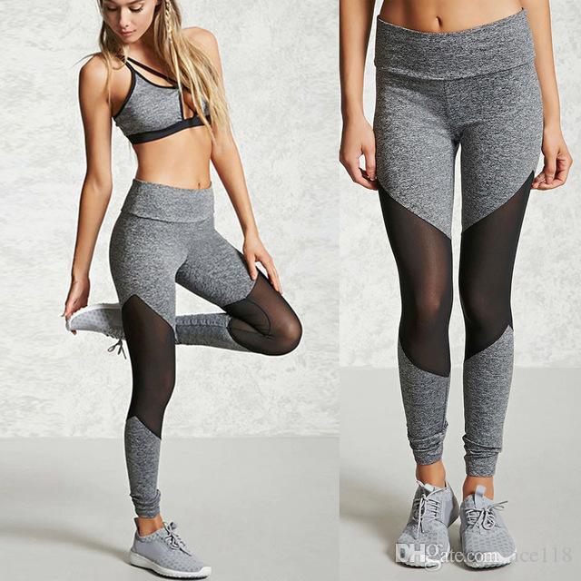 516d71c68e5 Women Female Sports Skinny Gym mesh Splice Patchwork Run trousers Fitness  Leggings Pencil flexible track Pants Workout Clothes