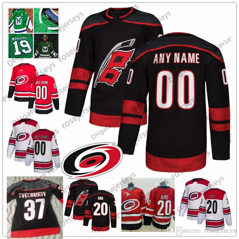 Custom Carolina Hurricanes Black Third Jersey Any Number Name Men Women  Youth Kid White Red Aho Faulk Staal Niederreiter Ferland Svechnikov UK 2019  From ... e464ec437