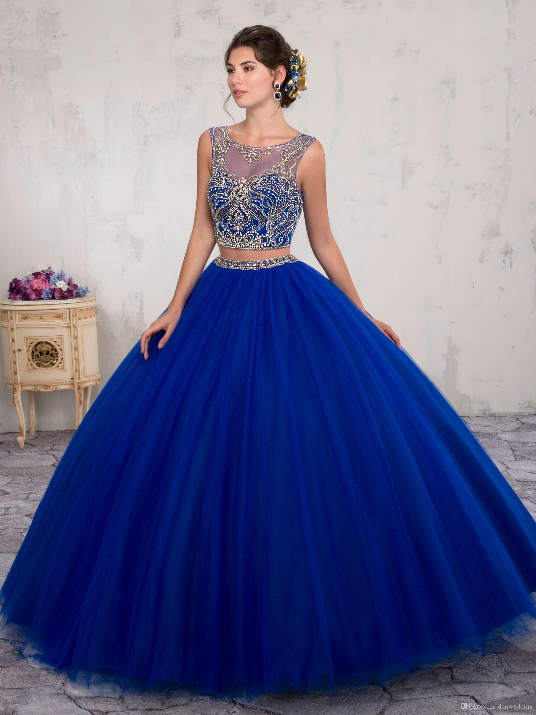 3d8fc2722 Compre Dos Piezas Con Encanto Azul Scoop Beads Vestidos De Quinceañera  Ocasión Especial Vestidos De Fiesta De Baile Vestidos De Baile Tamaño  Personalizado 2 ...