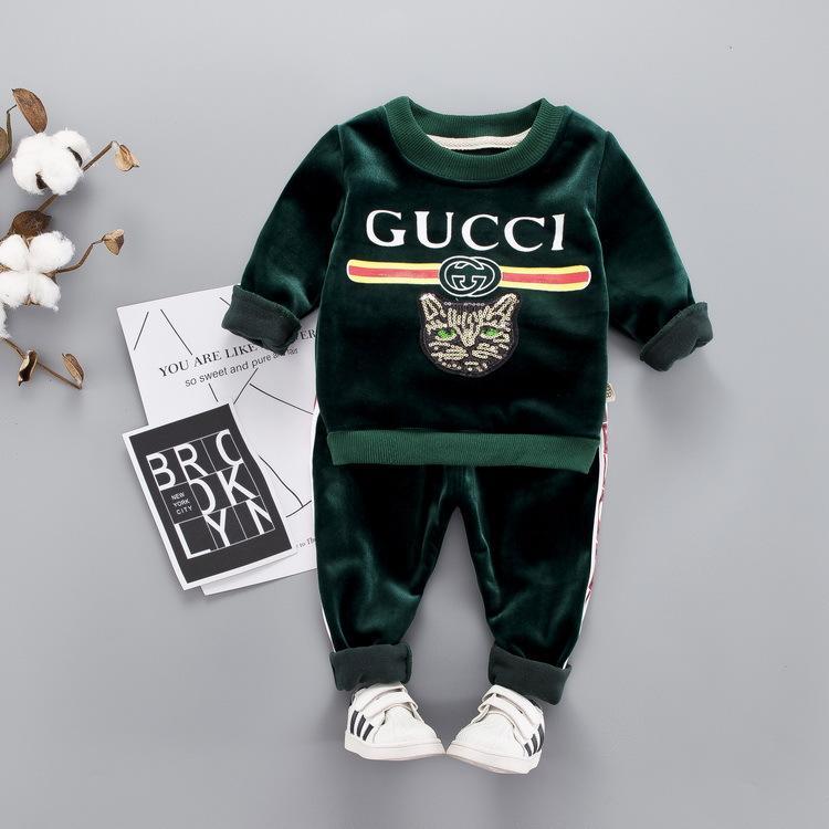 042b23be53340b Großhandel Kinderkleidung Jungen Herbst Und Winter Anzug Plus Kaschmir  Verdickung 0 1 2 3 Jahr 5 Baby Goldene Kinder Von Celebutante