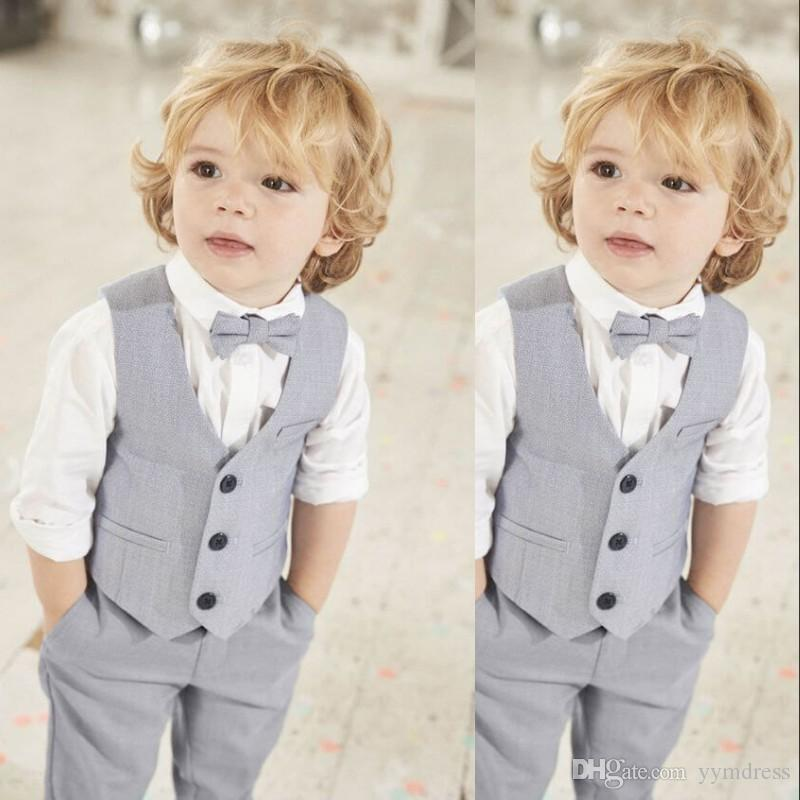New Gray Boys Vest Set For Wedding Party Three Button Kids birthday Wear Suit Vests Two Piece (Jacket+Pants+Bow)