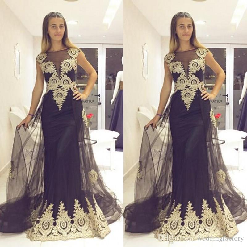 b985d2b268 Arabic Evening Dress with Sheer Train Illusion Bateau Neck Sleeveless Lace Appliques  Long Formal Prom Party Gowns Custom Make Black Dress Evening Dresses ...