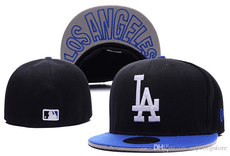 aa15b485b17cd4 Men'S LA Fitted Baseball Hats Black Top Blue Brim City Name Under ...