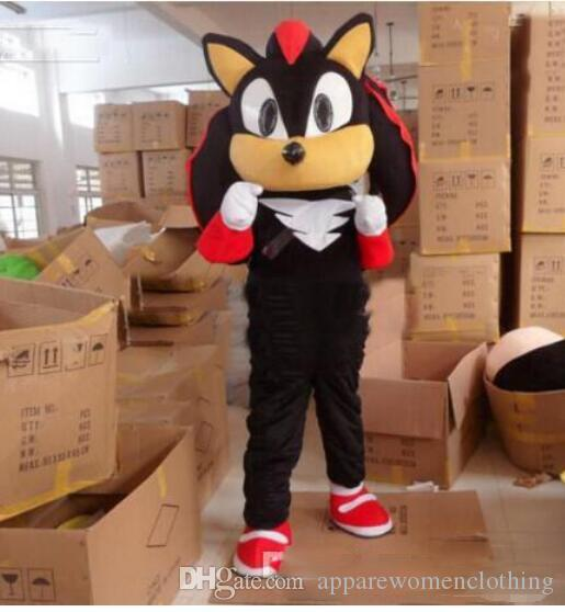 Hot sale New Shadow Sonic The Hedgehog Mascot Black Sonic Costume Cartoon Customized EMS free shipping