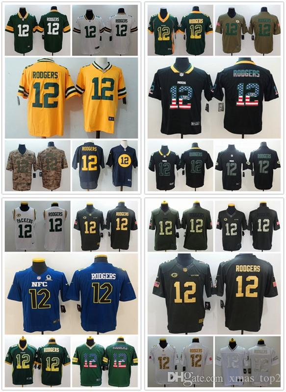 63c2aa004 2019 Mens 12 Aaron Rodgers Green Bay Packers Football Jersey 100% Stitched  Embroidery Packers Aaron Rodgers Color Rush Football Shirts Groom Suits  Long ...