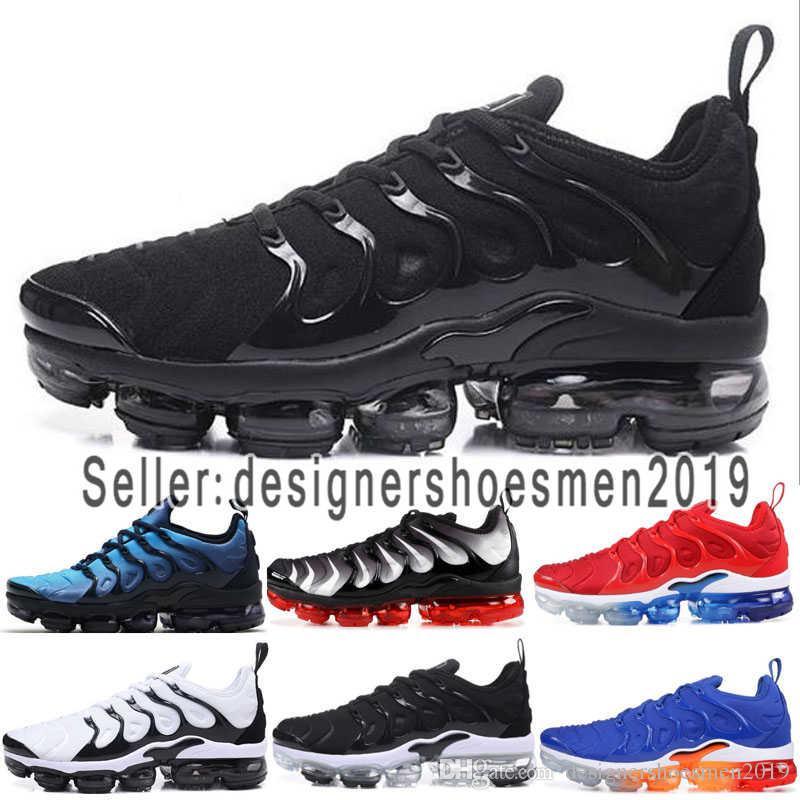 2018 Designer men s shoes Nike vapormax women tn plus triple negro zapatillas tn 2018 sneaker mejor calidad moda hombre y mujer zapatos tamaño 36 46