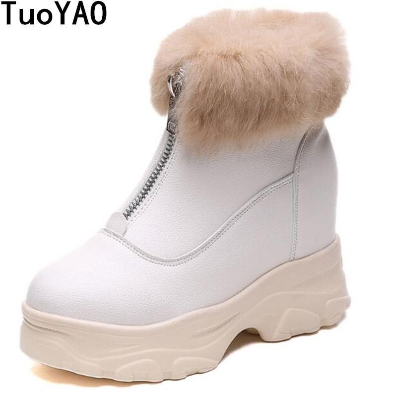 d460428f37 Compre Novo 2019 Mulheres Ankle Boots Inverno Cunhas Saltos Plataforma De  Bombas De Pele Quente Botas De Neve Mulher Grossa Sola 9 CM De Salto Alto  Sapatos ...