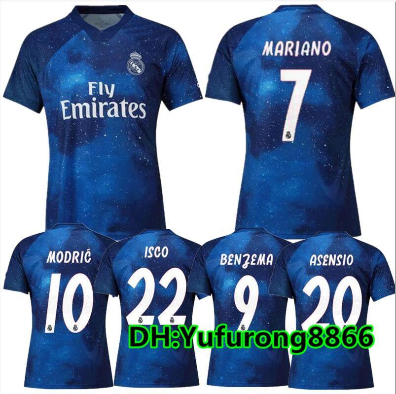 Real Madrid Camisetas De Fútbol De EA Sports RONALDO ASENSIO MODRIC Camiseta  De Fútbol Camiseta De Fútbol RAMOS Camiseta 18 19 Real Madrid ISC Maillot  Por ... 9b6ece89d7284