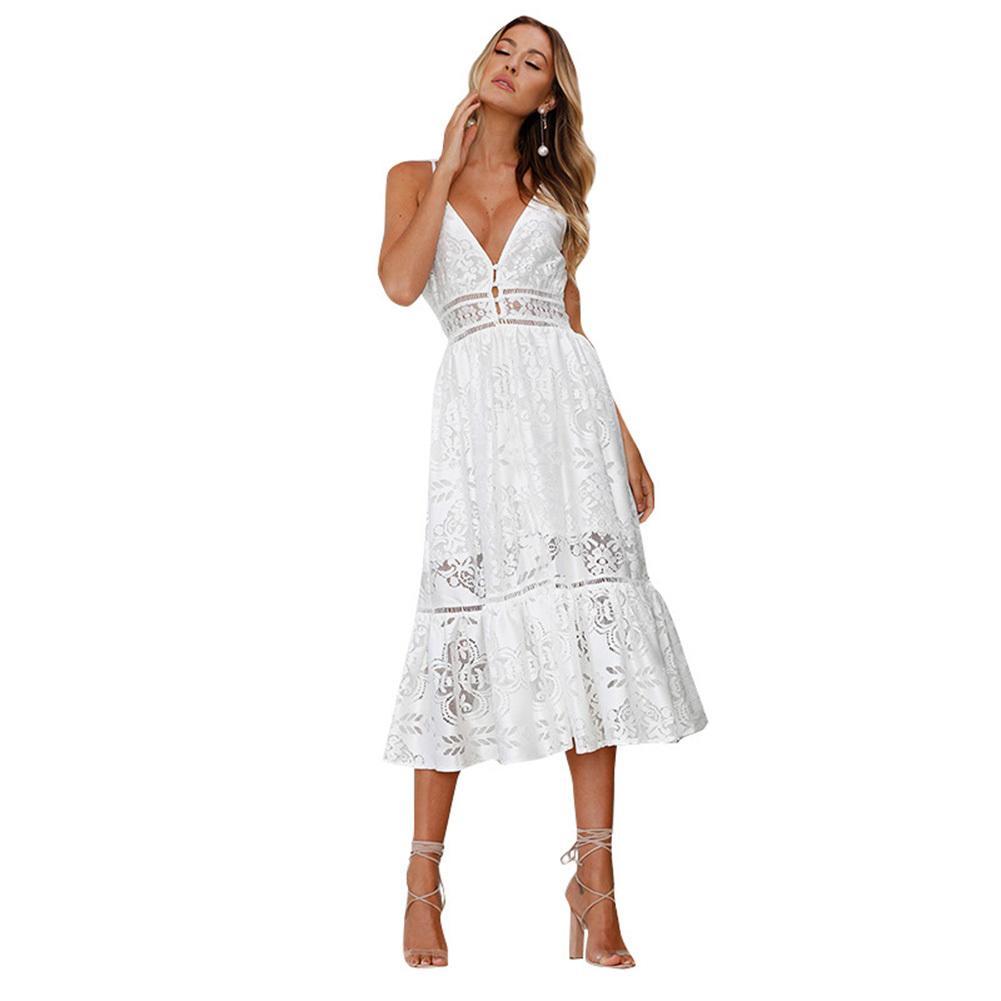 725eec446 Las mujeres atractivas de encaje vestido boho cuello en V profundo correa  de espagueti sin espalda playa de verano a media pierna vestido de las ...
