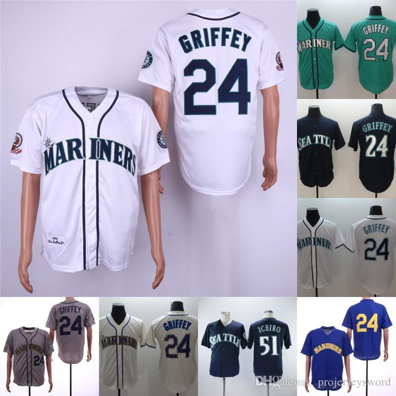 san francisco c5d7e 39cd7 #24 Ken Griffey Jr. Jersey Mens Seattle 51 Ichiro Suzuki 100% Stitched  Embroidery Logos Mariners Baseball Jerseys White Green Beige Navy