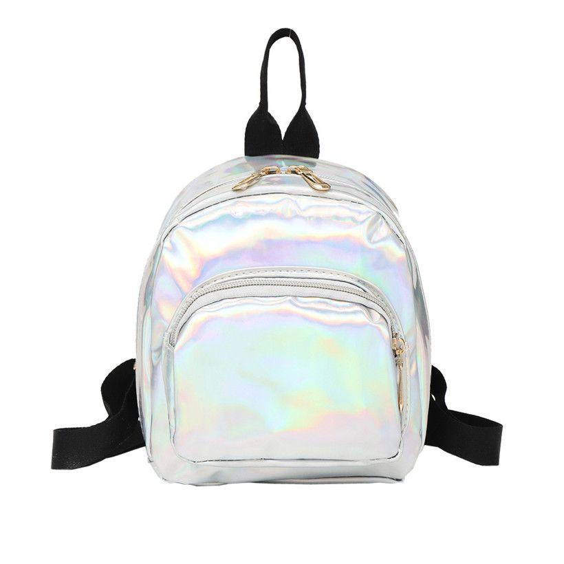 2f90bda93b HTNBO 2019 New Women Hologram Backpack Laser Daypacks Female Silver PU  Leather Holographic Bags Girl School Bag Mochilas Mujer Mens Backpacks  Swiss Army ...