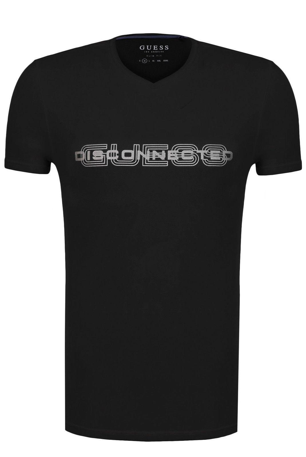 brand new 4f60f e3ba1 GUESS T-SHIRT A MANICHE CORTE M81I45 NERO Men s T-Shirt New Fashion Casual  Cotton Short-Sleeve Funny