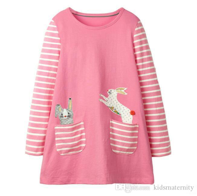 Girl Long Sleeve Unicorn Dress Summer Kids Clothing Animals Appliqued Kids Princess Dress for Baby Clothing Patterns Printed Party Dress