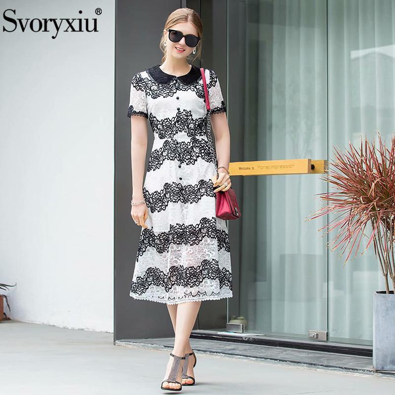 Svoryxiu 2019 robe d'été en dentelle piste piste designer à manches courtes exquise broderie bande mode robes midi