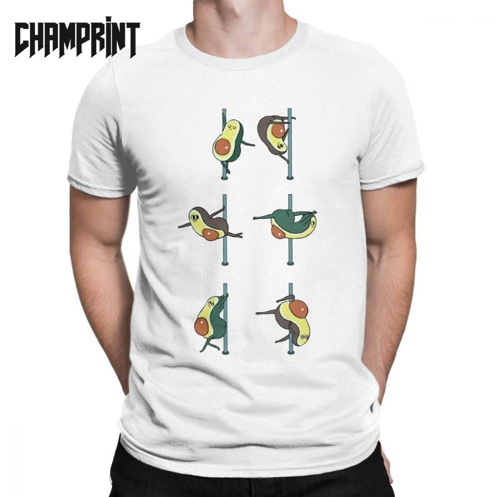 Avocados Pole Dancing Club Avocado Men T Shirt Vegan Funny Guacamole Cartoon Food Cute Tee Short Sleeve T-Shirts 100% Cotton Top