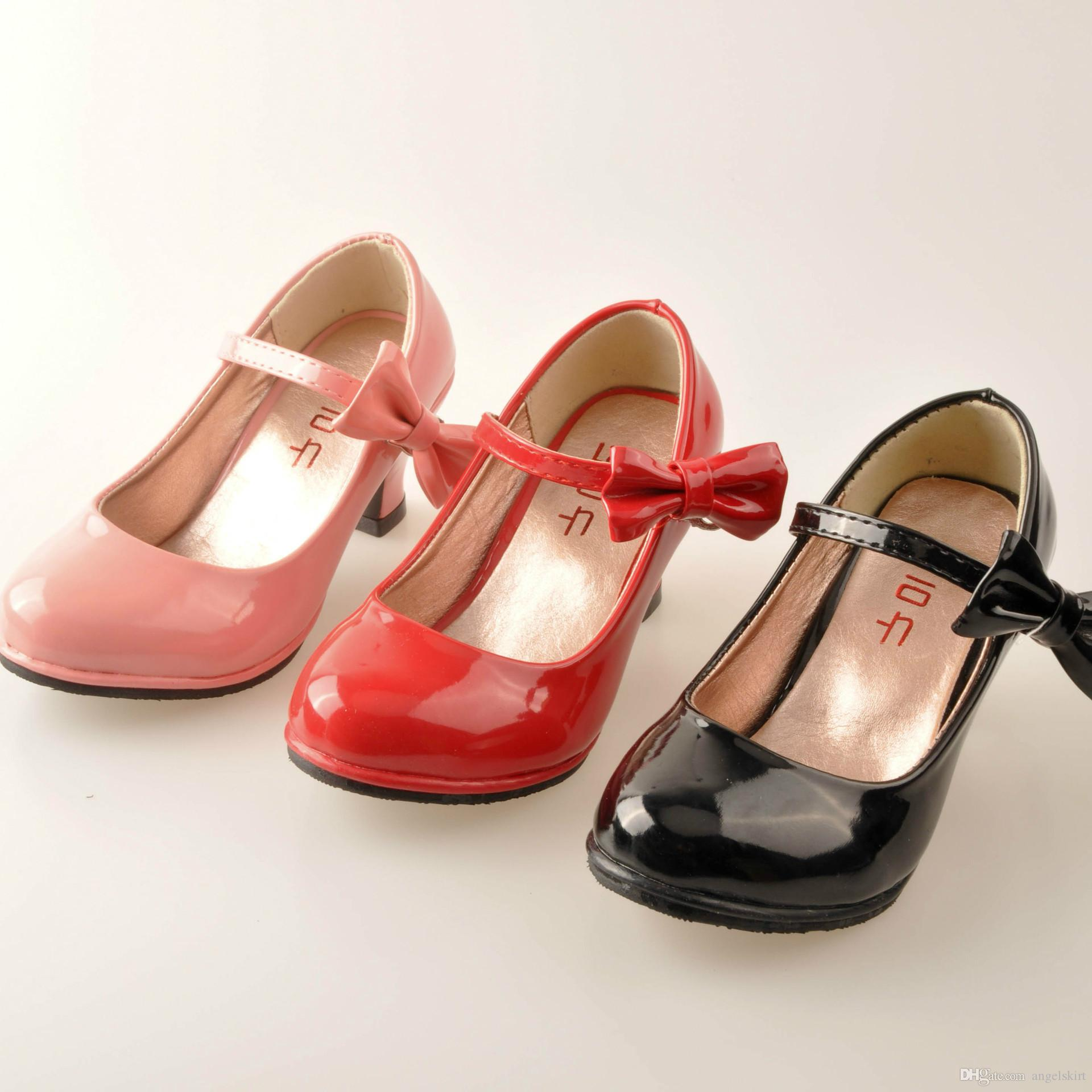 Size 26-35 Hot Sale PU Leather Bow Solid Color Children's Dress Shoes For Kid Girls