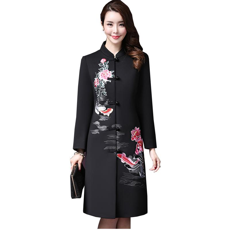 59c967506dd Long Retro Embroidered Wool Coat Women 2018 Autumn Winter New Large ...