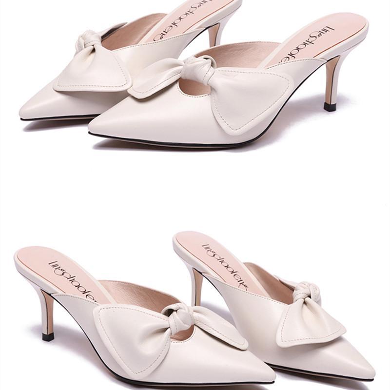 Moda Mujer Señoras Tacón Bowknot Aire Casual Blanca Al Zapatos Sandalias Diapositivas De Libre Para Verano Bajo Zapatilla BCdxoe