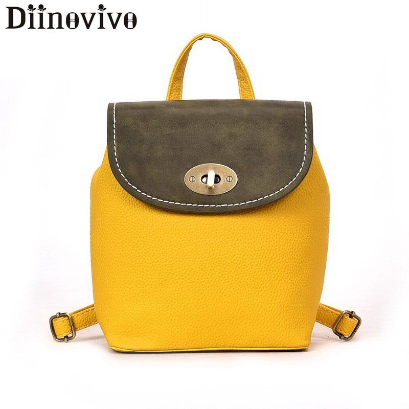 Diinovivo Panelled Women Backpack Fashion Travel Shoulder Bag Mini Backpack  Female School Bag For Teenager Girls LBF348 1d50dc3fc7f1c