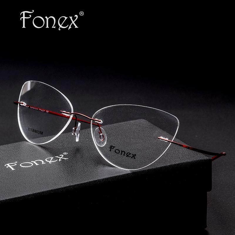 e7cbee58a9d3 2019 Vintage Fashion For Women Cat Eye Rimless Glasses Women Optical ...