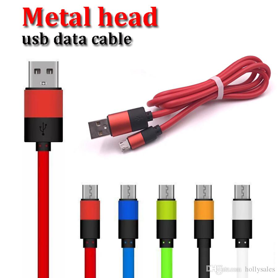 4.5OD strong pvc metal head usb sync data cable 1m 3ft 2.4A fast charging power cord for iphone samsung huawei oppo vivo