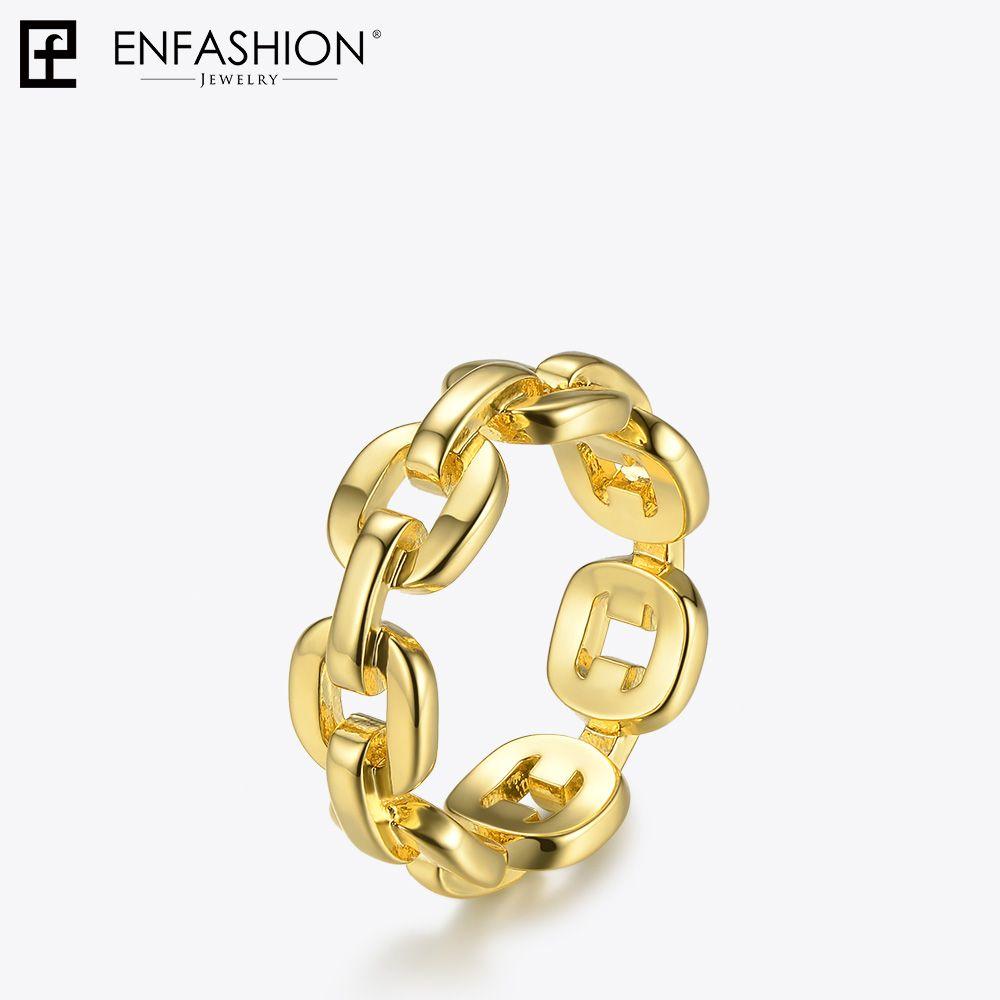 c302524b5099 Compre Enfashion Forma Pura Anillo De La Cadena De Enlace Hombres Oro Color  Anillos De Las Damas Para Las Mujeres Joyería De Moda Bague Femme Homme  Ringen ...