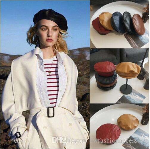 2019 New Beret Cap Fashion Women Casual PU Leather Beret Hat For Women Autumn Winter Retro Beanie Caps Hot