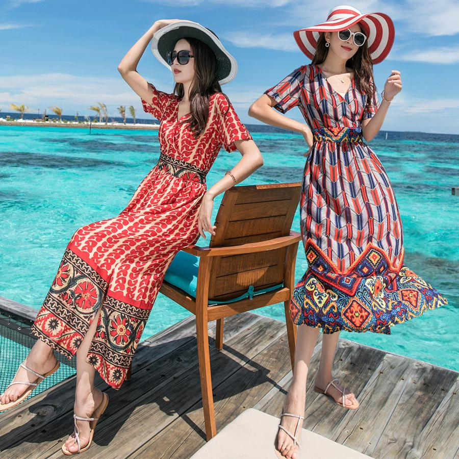 4cd561d0e 2019 Vintage Dress 2019 New Look Summer Vintage Notes Print Boho Short  Sleeve V Neck Maxi Beach Holiday Vacation Long Women Dress 3034 From  Clothes_zone, ...